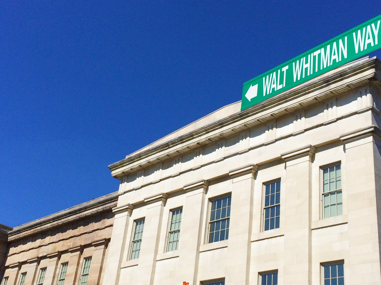 Walt Whitman Way at Seventh and F Streets, NW notes the poet's time that he spent at the old Patent Office (now the Smithsonian American Art Museum). Courtesy of Garrett Peck